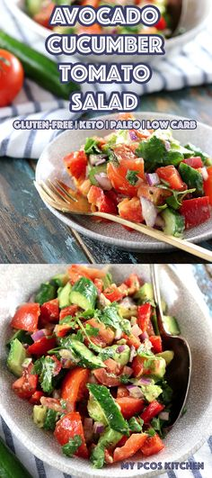 Low Carb Paleo Avocado Cucumber Tomato Salad - My PCOS Kitchen - A delicious sugar-free and gluten-free salad with a zesty cilantro dressing! The perfect keto side salad! via mypcoskitchen Salad Recipes Low Carb, Tomato Salad Recipes, Cucumber Tomato Salad, Healthy Gluten Free Recipes, Salad Dressing Recipes, Cilantro Dressing, Side Dish Recipes, Lunch Recipes, Avocado Salad