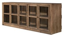 "The Farm House Collection Nothing pretentious here - and nothing to hide behind the five glass doors. Adjust the shelf to your liking. The Dark Antique Bleach finish shows you all the knots in the pine species.  1 Adj.Shelf 5 Glass Doors  87""w x 21""d x 34""h  Dark Antique Bleach"