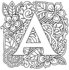 Ideas Embroidery Letters Patterns Urban Threads For 2019 Embroidery Letters, Paper Embroidery, Embroidery Stitches, Embroidery Designs, Printable Coloring Pages, Colouring Pages, Adult Coloring Pages, Coloring Books, Letter Patterns