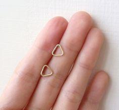 Sterling Silver Brass Gold Triangle Stud Earrings/Minimal modern rustic simple ear studs/minimalist post earrings/ Gift Box