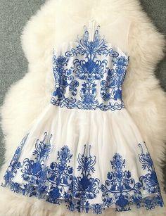 Fashion Designer Embroidered Dress