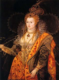"""'The Rainbow Portrait' of Queen Elizabeth I as """"The Queen Of Love And Beauty"""" -- 1600-1602, attr. to Isaac Oliver. Owned by the Marquess of Salisbury; on display in the Marble Hall at Hatfield House, Hatfield, Hertfordshire, England, UK"""
