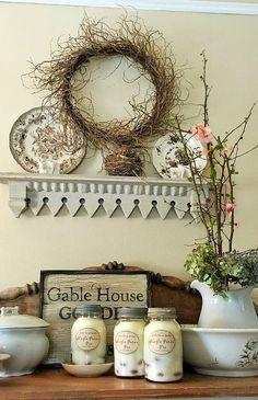 Gable House Goodes Small Bathroom Window, Bathroom Windows, Gable House, Folk Art, Candles, Crafts, Manualidades, Popular Art, Candy