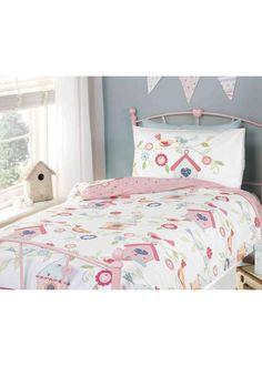 Birdhouse Toddler Duvet Set - http://www.childrens-rooms.co.uk/birdhouse-toddler-duvet-set.html #toddlerbedding #girlsbedding #juniorbedding