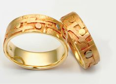 Textures #5: Klimt bands in 14k yellow gold with abstract applications of multi-colored 18k golds, medium width 7-10mm.