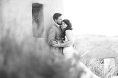 Perfect rustic wedding photos through the bushes