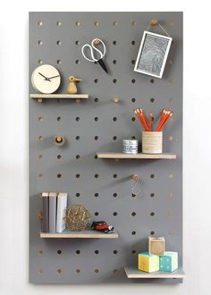 Peg-it-all Pegboard : Wall-mounted Storage Panel in grey