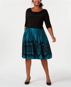 785d43a6f40 Sl Fashions Plus Size Glitter-Flocked Ruched Dress