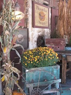 decorate for different seasons and holidays as shown here with decor for fall with mums, corn stalks, and awesome antiquey stuff which make a cool background...
