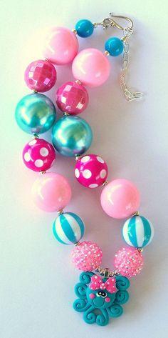 aqua chunky beads | ... Aqua, Pink Girls Chunky Necklace, Girls Big Bead Necklace, Girls