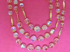 WEST GERMANY 1940's MULTI 3 STRAND AB CRYSTAL QUARTZ BEAD GOLD NECKLACE VINTAGE | eBay