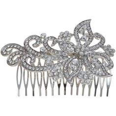 John Lewis Large Crystal Swirl Dress Comb, Silver (€32) ❤ liked on Polyvore
