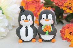 Penguin wedding cake toppers - orange