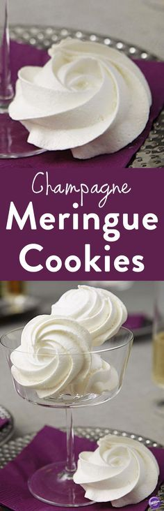 Champagne Meringue Cookies Recipe - Learn how to make these lovely meringue cookies that combine the effervescent nature of champagne with the unique texture of a meringue. The crisp essence of champagne is captured in a delicate cookie, crisp like champagne on the outside with a slightly chewy inside. These lovely cookies pair well with other sweet flavors like vanilla, chocolate and stone fruits. A perfect party favor at baby and bridal showers, luncheons, and weddings!
