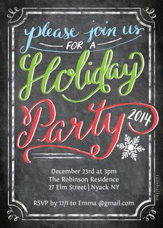 Holiday Party Invite Chalkboard designed by Tumbalina on Celebrations.com