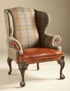 Maitland Smith Relaxed Hunt Club Finished Wing Back Chair, Wool Plaid and Cognac Leather Upholstery Browns CHAIR SEATING. Relaxed Hunt Club Finished Wing Back Chair, Wool Plaid and Cognac Leather Upholstery English Decor, English Style, Take A Seat, Chesterfield, Wingback Chair, Living Room Furniture, Home Furnishings, Upholstery, Furniture Design