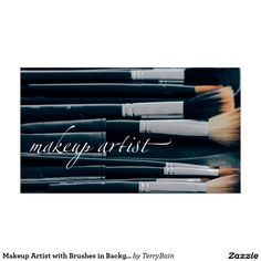 Custom makeup artist with brushes in background business card makeup artist with brushes in background reheart Image collections