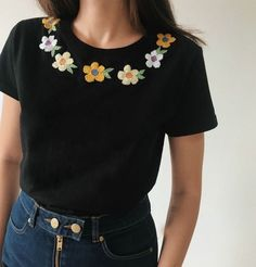 ropa mexicana Cute chamomile hand embroidered tee, Black women's floral boho style t-shirt, personalized gift, gifts under florist gift Hand Embroidery Flowers, Embroidery On Clothes, Simple Embroidery, Shirt Embroidery, Embroidered Clothes, Embroidery Fashion, Hand Embroidery Designs, Embroidery Patterns, T-shirt Broderie