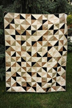 Scrappy Threads: half square triangles; Neutrals. browns, cream, tans and black.