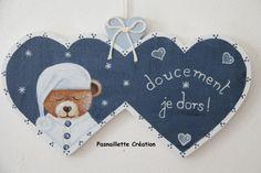 SUR COMMANDE   Plaque de porte bébé enfant   Nounours ourson (cœurs  doubles)