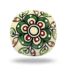 Round White Ceramic Knob with Red & Green Flowers, Decorative Door Knob for a Kitchen Cupboard or Living Room Cabinet, Floral Furniture Pull