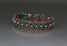 Copper Woven Bracelet Tutorial by LisaBarthJewelry on Etsy https://www.etsy.com/listing/129803075/copper-woven-bracelet-tutorial