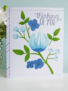 Thinking of you - 2017-01-31 - koolkittymusings.typepad.com using @concordand9th #Flourish stamp set Concord And 9th, Pretty Cards, Cute Cards, Altenew, Concorde, My Stamp, Flower Cards, Flourish, Rock Painting