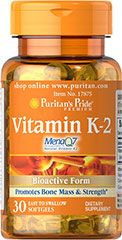 Vitamin K-2 (MenaQ7)  30 Softgels 50 mcg $18.99 - 5 for 37.98 - Vitamin K-2, also known as Menaquinone, supports normal blood clotting and activates enzymes responsible for bone formation.** This K-2 supplement is a trademarked variety of Vitamin K called MenaQ7 — a natural form of Vitamin K that is bioactive and extracted from a natural whole food source like soy, or fermented soy known as natto in Japan.**