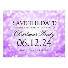 #glitter - #Christmas Party Save The Date Purple Glitter Light Postcard