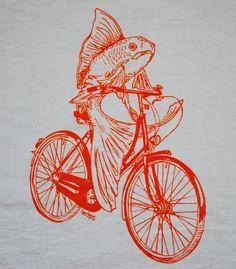Orange Fish on a Bicyle Kitchen Hand Towel by HeapsHandworks