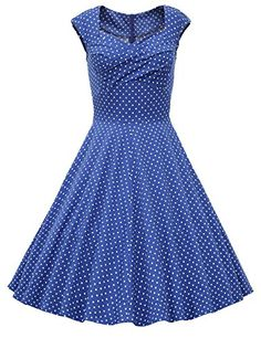 Dresstells Women 1950s Vintage Retro Audery Party Swing Dress Cocktail Dress Royal Blue Dot S >>> Check out the image by visiting the link.