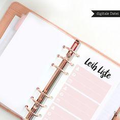 Taschenkalender - Leih Liste / Filofax Personal / PRINTABLE / PDF - ein Designerstück von sppiy bei DaWanda