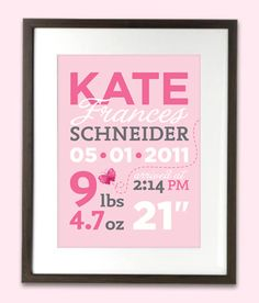 Personalized Birth Stats Announcement art by MarsDesignStudio, $22.00