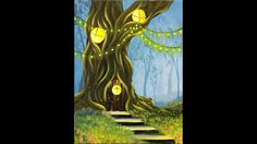 Let's paint a fairy forest with a warm, inviting home in an old oak tree. Stairs, grasses, fireflies, and string lights add to the magical mood in this paint...