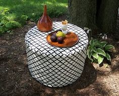 slip-covered cable spool, outdoor ottoman/side table