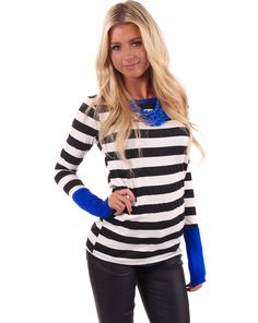 Lime Lush Boutique - Striped Royal Blue Cuff Top, $29.99 (http://www.limelush.com/striped-royal-blue-cuff-top/)