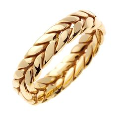 14 kt Gold Braided Hand Crafted 6mm Wide Commitment or Wedding Band Custom made Size 4 through 9. $675.00, via Etsy.
