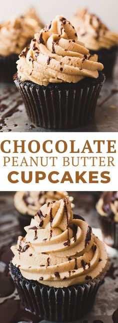 These chocolate peanut butter cupcakes have a rich, fudgy chocolate cake and are topped with a creamy peanut butter frosting. If you love peanut butter chocolate recipes, you'll love this easy chocolate cupcake recipe!