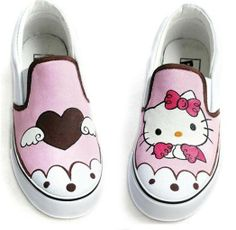 30 euro incl shipping unisex hello kitty hand painted shoes children sneakers boy and girls tennis shoes-in Athletic Shoes from Shoes on Aliexpress.com