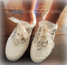 09f9e8630 Wedding Bridal Tennis Shoes Sneakers Flats - chic ivory or white lace -  eyelet trim - embellished diva - rhinestone and pearl