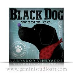 Black Dog Wine Company original graphic art on by geministudio, $80.00