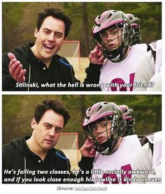 """Stilinski, what the hell is wrong with your friend?"" ""He's failing two classes, he's a little socially awkward, and if you look close enough his jawline is kinda uneven."" Lines like this is why I love this show!!"