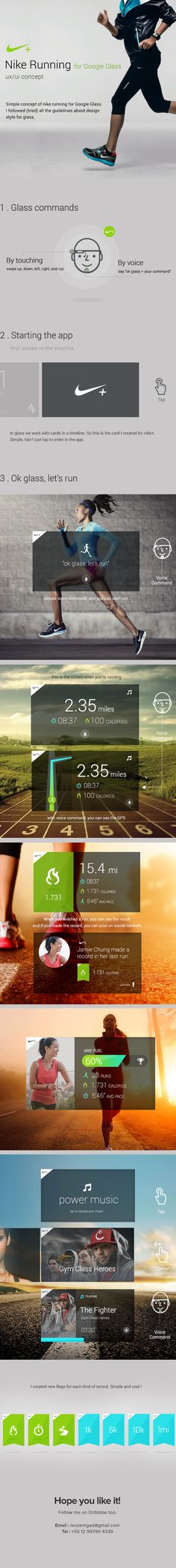 #Nike Running for #GoogleGlass by Leonardo Zem, via #Behance #UX #UI Mobile Ui Design, Web Ui Design, Site Design, Nike Running, Running Shoes, Digital Web, Service Design, Interface Design, User Interface