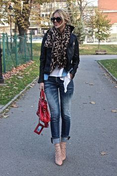 Jean skinny leg jeans, black leather jacket, leopard scarf, white shirt, wear with nude color booties instead of heels.