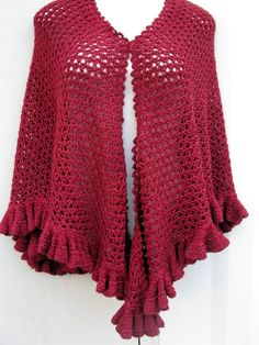 Red Shawl/ wrap with ruffles made with hand by Elegantcrochets, $120.00