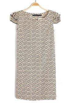 ++ Multicolor Fawn Print Belt Puff Sleeve Dacron Dress