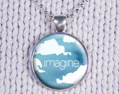 Imagine Charm, Custom Word Charm, Imagine Quote, Blue Sky Design, Custom Text, Motivational Charm, Cloud Pattern, Quote Charm Necklace