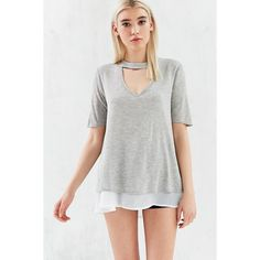 Kimchi Blue Elsa Cutout Mock-Neck Tunic Top (65 CAD) ❤ liked on Polyvore featuring tops, tunics, cutout tops, grey top, rayon tops, viscose tops and drapey top