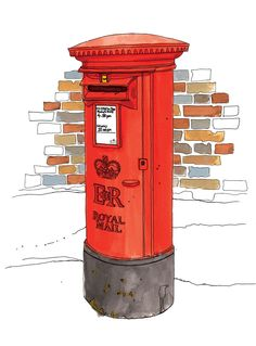 Illustration of the red, round, freestanding royal post 'box'. London Illustration, Cute Illustration, Post Box Drawing, Post Box Red, London Poster, Christmas Drawing, Colorful Drawings, Mail Art, Box Art