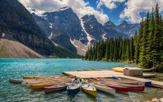 HD wallpaper: Kayaks In Lake Moraine Banff Canada Landscape Photography Ultra Hd Wallpapers And Laptop 3840×2400